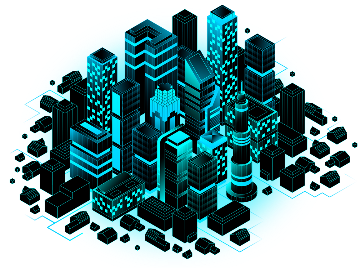 Glowing, illustrated city grid with skyscrapers, businesses, and houses
