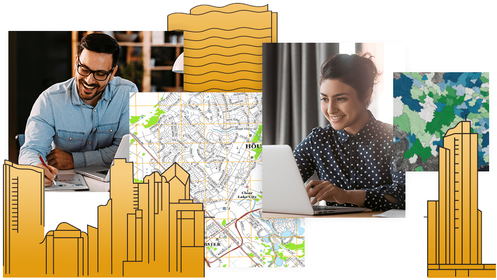 A collage of maps and illustrated buildings with two smiling people working with laptops at their desks