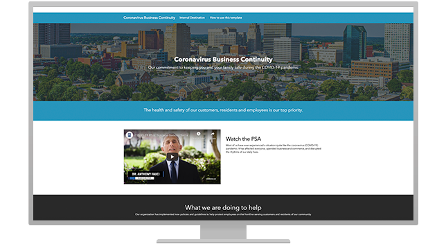Communications hub website example