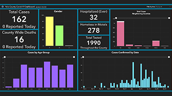 Dashboard with numbers and charts of demographics