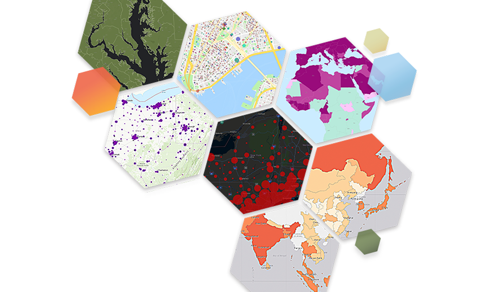 Colorful hexagons with map scenes inside