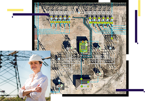 person wearing a hardhat, substation map