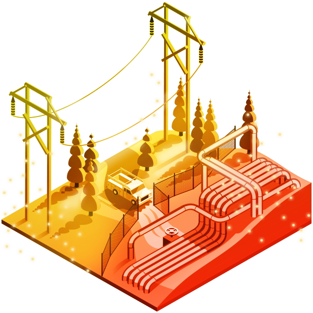 Red, orange, and yellow electric and gas utilities illustration