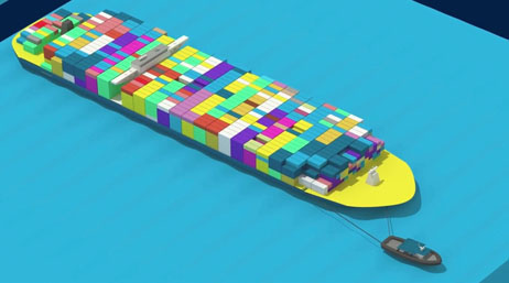Digital model of a cargo ship and its cargo containers