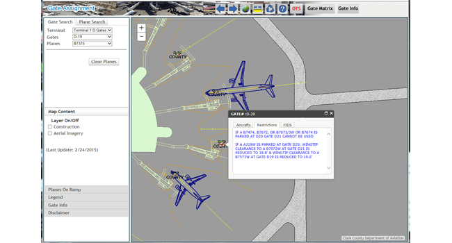 With access to flight information and gate restrictions through the Gate Assignment web application, air traffic controllers can easily and quickly assign craft to appropriate gates