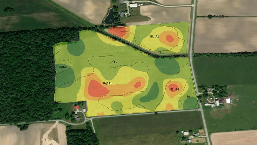 Aerial map of a farm overlaid with data on crop health